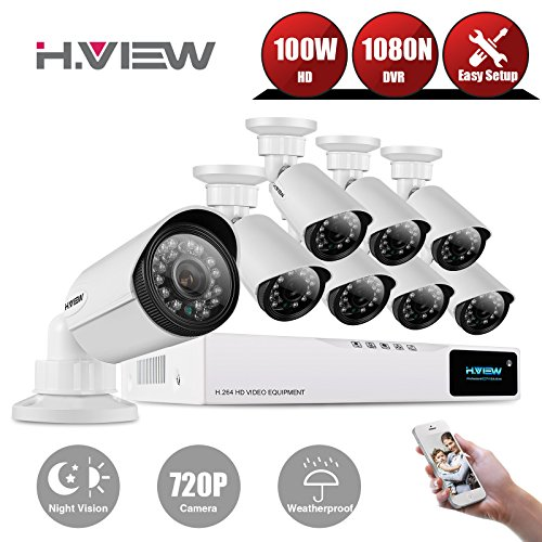 Home Video Surveillance Camera System, H.View 1200TVL 720P Outdoor Security Camera, 8 Channel AHD CCTV DVR Kit (NO HDD)