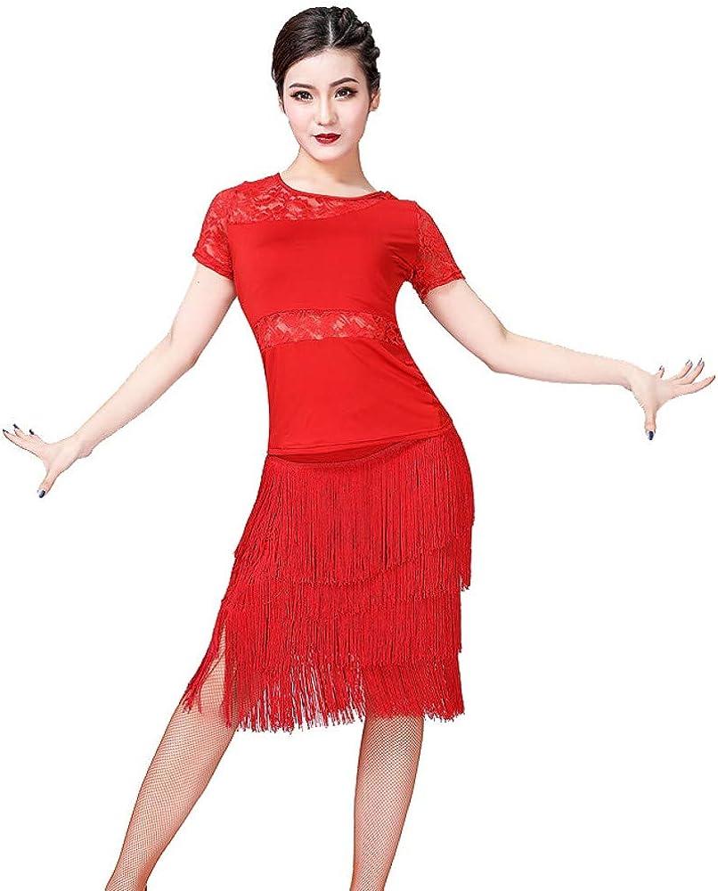 ESHOO Traje de Baile Latino para Dama, Camisa de Manga Corta con Perspectiva de Encaje + Falda de Baile Latino con Flecos, Conjunto de 2 Piezas: Amazon.es: Ropa y accesorios