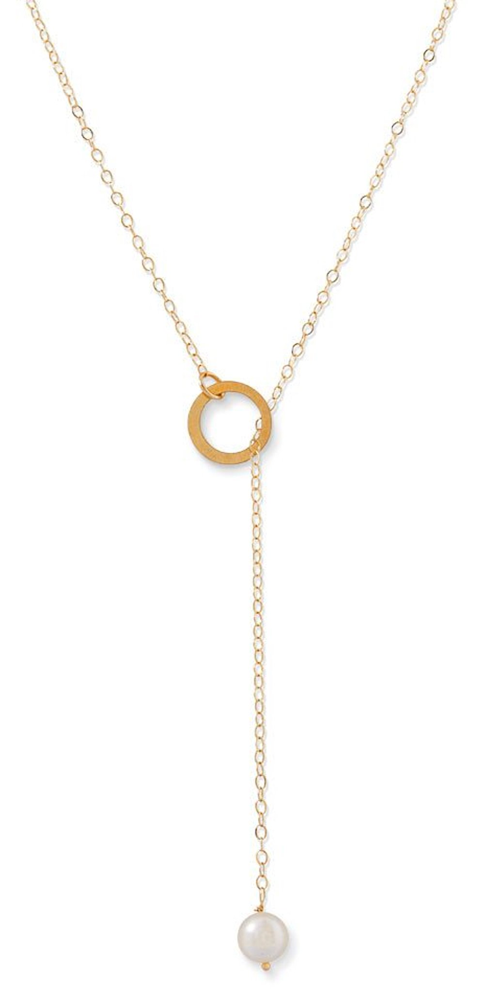 14K Gold Lariat Chain Necklace, 6mm Near Round Bleached White Cultured Freshwater Pearl End, 18 inches