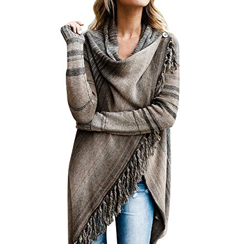 NREALY Sweater Women's Tassel Irregular Cardigan Knitted Sweater Poncho Shawl Coat Jacket Outwear(2XL, Gray) ()