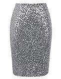 PrettyGuide Women's Sequin Skirt High Waist Sparkle Pencil Skirt Party Cocktail 3XL Silver