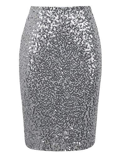 PrettyGuide Women's Sequin Skirt High Waist Sparkle Pencil Skirt Party Cocktail 3XL Silver ()
