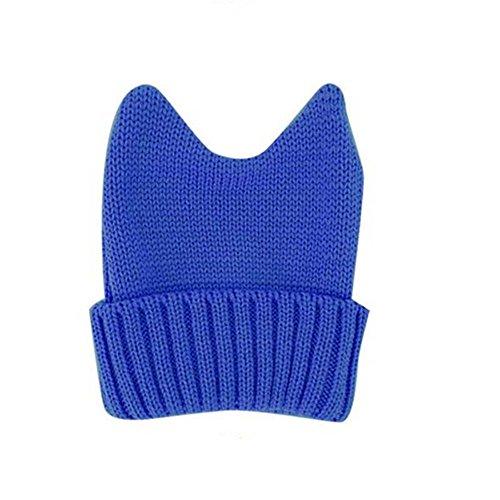 Women's Cute Cosplay Devil Demon Cat Ear Knit Winter Warm Beanie Hat Cap Blue (Skully And Green Demon)