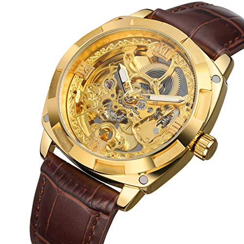 Mechanical Watch for Men - Hollow Automatic Mechanical Watch Waterproof Leather Business Mechanical Watch for Father Men Kids Youth Teens Boyfriend Lover's Birthday Gift (Difference Between Analog Electronics And Digital Electronics)