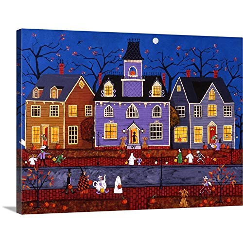 GREATBIGCANVAS Gallery-Wrapped Canvas Entitled Halloween in Pleasantville by Joseph Holodook 40