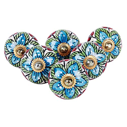 Set of 6 Multi-Colour Hand-Painted Ceramic Door Knobs with Leaf ()