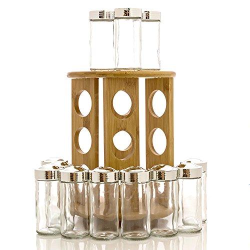 Intriom Bamboo Revolving Spice Glass