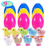 BESTTY 9 Pack Plastic Easter Eggs Prefilled Pre Filled with Multi Color Wind Up Rabbits and Chicks Chicken Toy Inside, Gift for Kids, Toddler