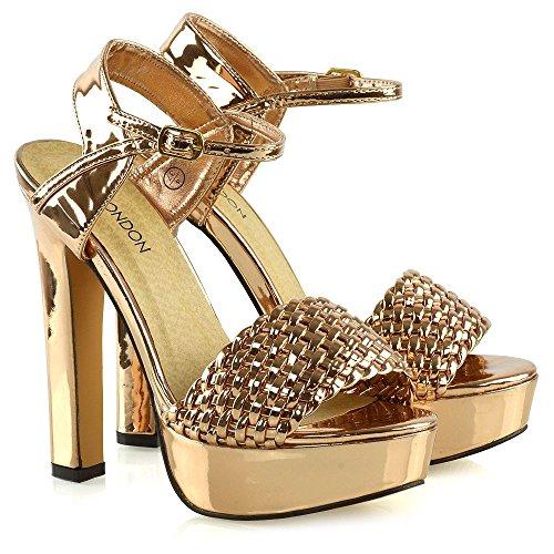 Intrecciata Caviglia Piattaforma ESSEX Le GLAM Cinturino Rosa Toe Blocco Signore Sandali Peep a Oro Metallizzato Tacco Donna alla Scarpe RxIzSqI
