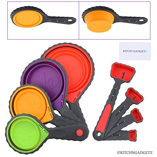 Set of 4 Collapsible Silicone Measuring Cups and 4 Measuring Spoons - Space Saving Design - Includes: 1/4 Tsp, 1/2 Tsp, 1 Tsp, 1 Tbsp, 1/4 cup, 1/3 cup, 1/2 cup, 1 cup - Easy to Clean/Dishwasher Safe