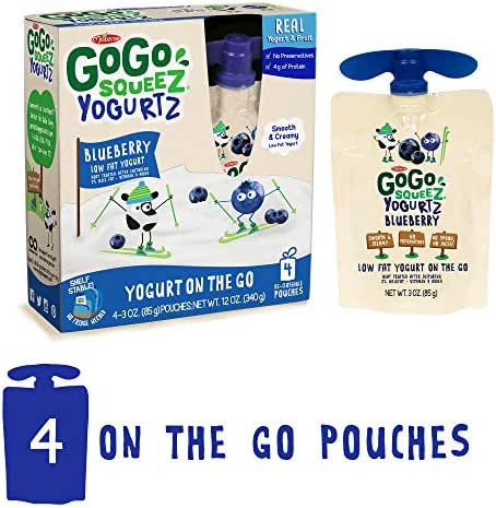GoGo squeeZ YogurtZ, Blueberry, 3 Ounce (4 Pouches), Low Fat Yogurt, Gluten Free, Healthy Snacks, Recloseable, BPA Free Pouches