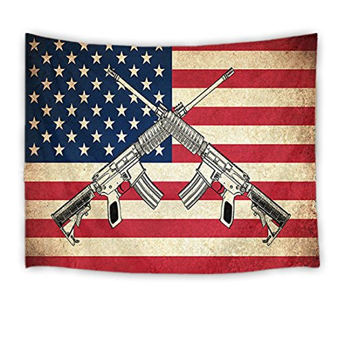(LB American Flag Tapestry Vintage The Stars and Stripes Flag with Gun Wall Hanging Western Culture Tapestries for Bedroom Living Room Dorm Party Wall Decor,60Wx40H)