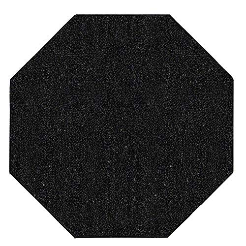 Black Octagon Rug - Ambiant Saturn Collection Pet Friendly Indoor Outdoor Area Rugs Black - 2' Octagon