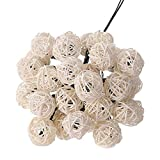 MeiLiio Solar String Light 30 LED Rattan Ball Decorative Ambiance Hanging Solar Powered Fairy Lights for Garden Lawn Landscape Home Holiday Decorations Xmas Tree (Multi-color)