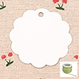 Lwestine 300PCS Kraft Paper Price Tags, Round Flower Kraft Paper Gift Tags(White) Wedding Party Favours, With 33 Feet Natural Jute(Army Green)