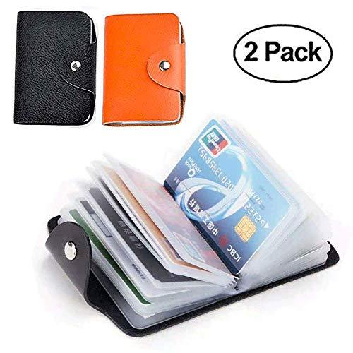 Credit Card Holder Protector Bag for Women Men (Black&Orange)