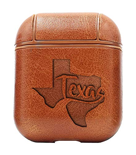 (Texas Name MAP (Vintage Brown) Air Pods Protective Leather Case Cover - a New Class of Luxury to Your AirPods - Premium PU Leather and Handmade exquisitely by Master Craftsmen)