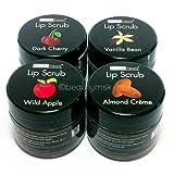 4pc Beauty Treats Lip Scrub with Almond Creme Wild Apple Vanilla Bean Dark Cherry All 4 Full Set - Beauty Treats New