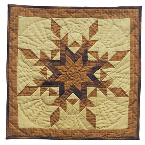 Autumn Star Wall Hanging Quilt 18 Inches by 18 Inches 100% Cotton Handmade Hand Quilted Heirloom Quality