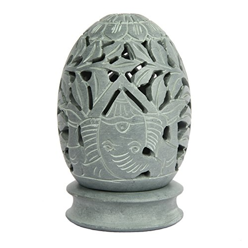 Aheli Natural Soapstone Votive Tea Light Candle Holder with Ganesha Sculpture Design (3.5 X 4 Inch) Home Decor (Sculpture Candle)