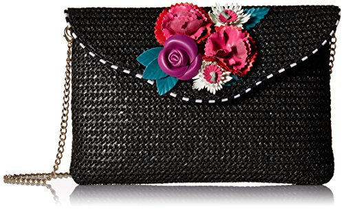 Betsey Johnson Gypsy Rose Straw Flower Crossbody, Black