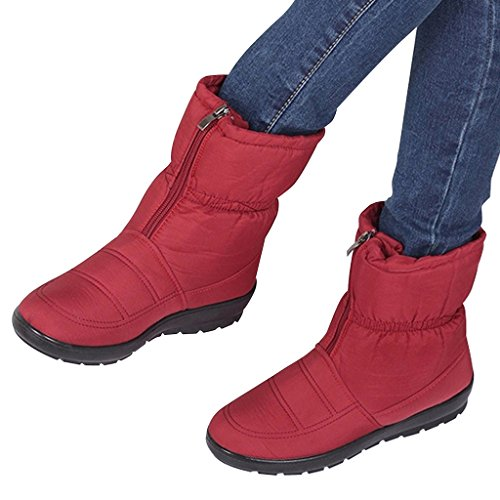 Women Snow Dear Boots Waterproof Red Time Zipper 4IqnwOrBq5