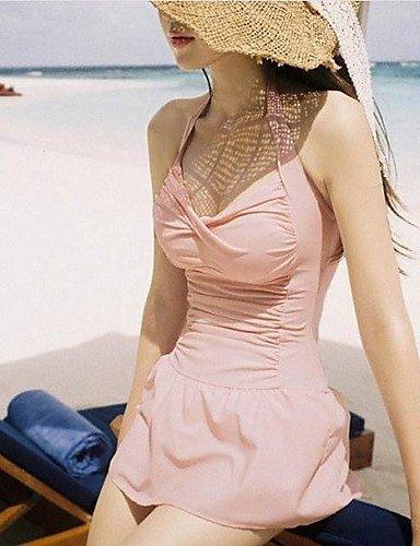 ZQ de la mujer Halter multi-pieces, de nailon/spandex rosa, pink-xl, extra-large pink-xl
