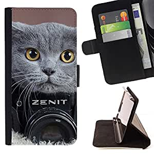 For Sony Xperia M2 CUTE BRITISH SHORTHAIR CAT PHOTOGRAPHY Beautiful Print Wallet Leather Case Cover With Credit Card Slots And Stand Function