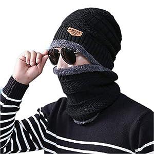 ADBUCKS Snow Proof Inside Fur Wool Unisex Beanie Cap with Neck Warmer Set Knit Hat Thick Fleece Lined Winter Hat for Men…