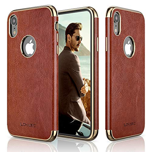 LOHASIC Premium Leather Case for iPhone XR, Slim Luxury Flexible Defender Anti-Slip Soft Grip Shockproof Protective Cover Cases Compatible with Apple iPhone XR (2018) 6.1 inch - New Brown ()