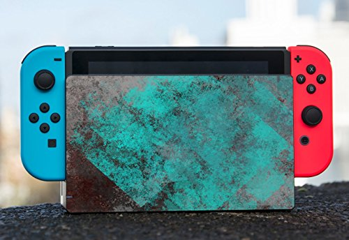 Teal Watercolor on Grey Background Vintage Grunge Abstract Design Nintendo Switch Dock Vinyl Decal Sticker Skin by Moonlight Printing