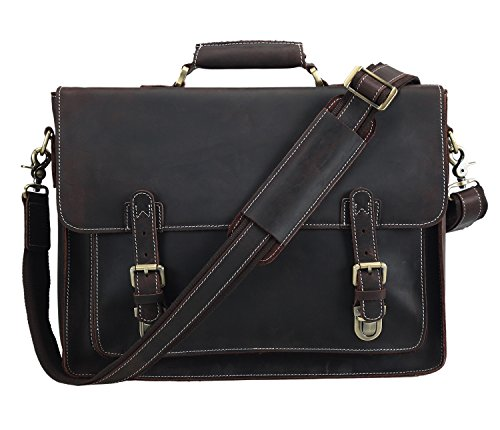 Italian Leather Zippered Travel Bag - Polare Men's Full Grain Leather Laptop Briefcase Messenger Bag Vintage Travel Case