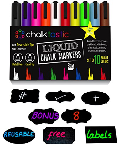 Chalktastic Liquid Chalk Markers - 10 Pack of Professional Quality Pens With Bright Neon Colors, 6mm Reversible Fine or Chisel Tip - Massive 8gm of Ink! Use on Chalkboard, Glass, Bistro Boards, Kids Art or Menu Boards.