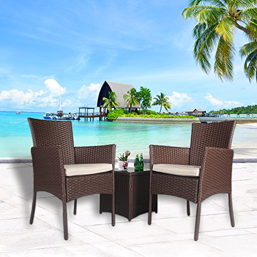 Wrought Iron Seating (Cloud Mountain Outdoor 3 PC Bistro Sofa Set Wicker Bistro Conversation Set Wicker Sectional Furniture- Two Chairs with Glass Coffee Table, Creamy White Cushions with Cocoa Brown Rattan)