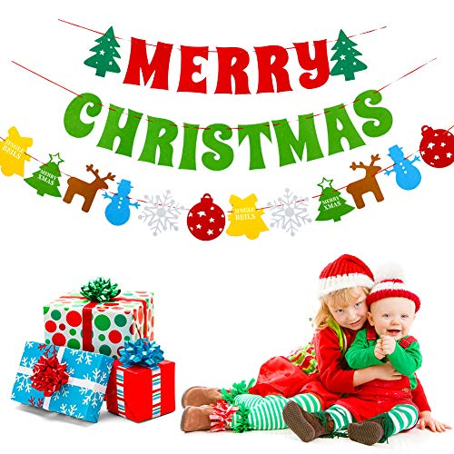 Merry Christmas Banner(Assembled)Christmas Decoration Sign Felt Garland Bunting, Indoor Outdoor XMas Decorations For Fireplace Office Windows Kids Christmas Tree