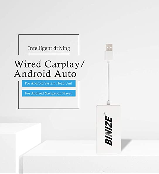 Binize Wired Wireless Carplay Android Auto USB Dongle, Mirroring, SIRI Voice Control Google Maps Waze Wired White