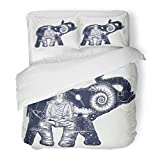 SanChic Duvet Cover Set Elephant Tattoo Symbol Spirituality Meditation Yoga Traveling Buddha Ammonite Mountains Magic Double Decorative Bedding Set Pillow Sham Twin Size
