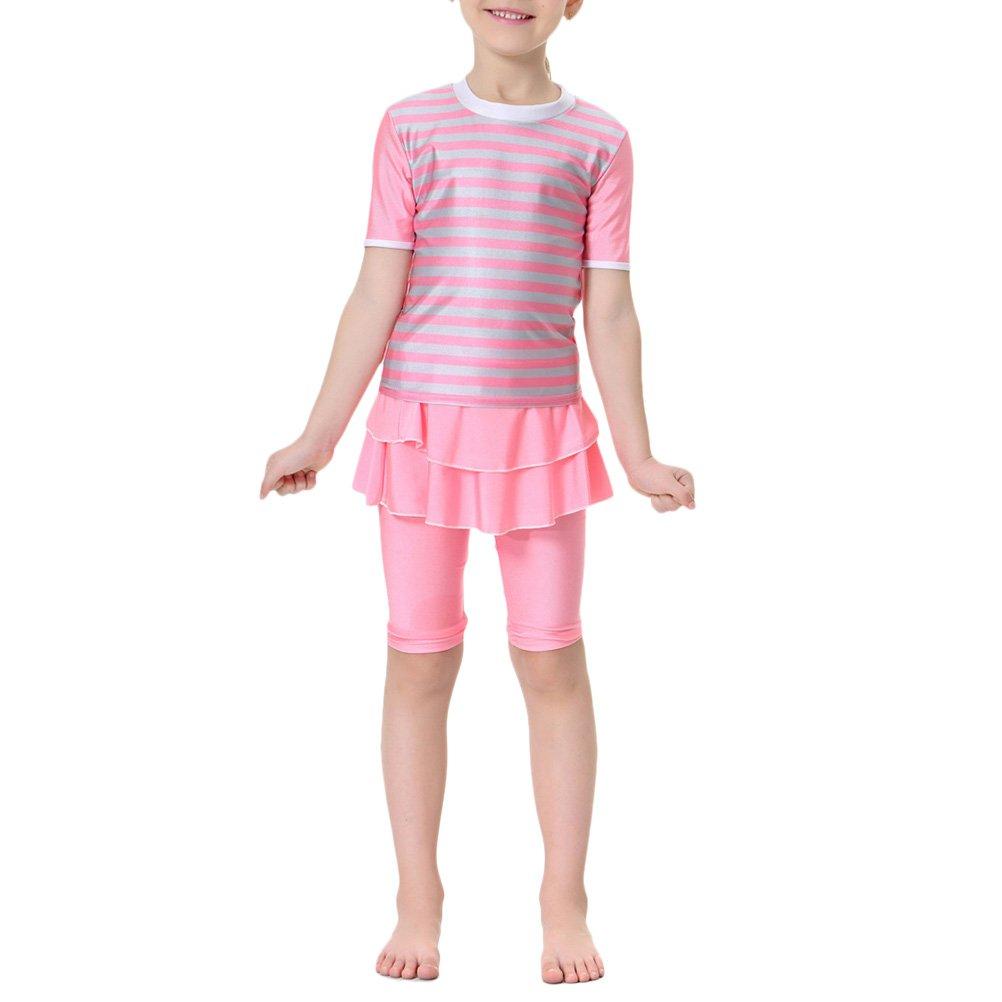 Zhhlinyuan Kids Girls Ruffle Stripe Swimsuit UV Modest Muslims Swimwear 4481#