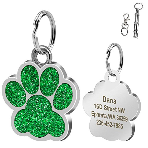 Didog Large Glitter Paw Print Custom Pet ID Tags for Medium Large Dogs and Cats,Personalized ()