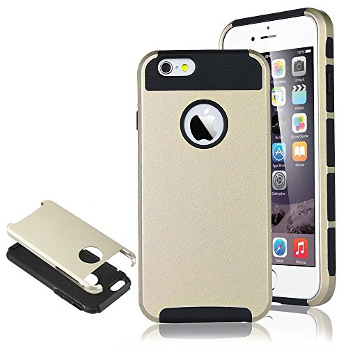 """iPhone 6 Case, iPhone 6 4.7 inch Cover, New, MagicSky Hybrid Dual Layer Holster Case Cover Apple iPhone 6 4.7"""", 1 Pack(Black/Champagne Gold)"""