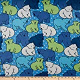 Polar Fleece Polka Dot Bear Blue Fabric by the Yard