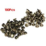 SODIAL(R) 100 Sets 6mm Round Antique Brass Rivets Rapid Studs