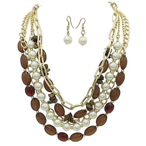 Designer Inspired Necklace Set (5 Rows Layered Bead Chain & Imitation Pearl Statement Necklace & Earrings Set - Assorted Colors (Brown))
