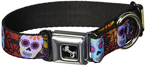 (Buckle-Down Seatbelt Buckle Dog Collar - Painted Sugar Skulls & Flowers Collage - 1