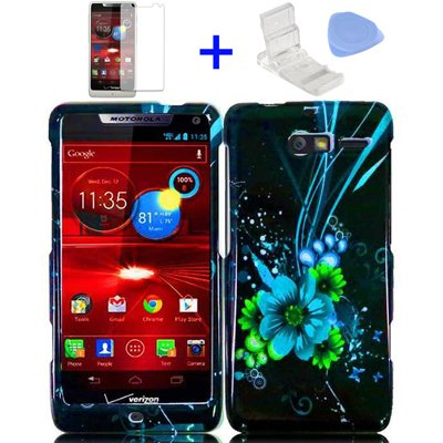 4 items Combo: Mini Video Phone Stand + Clear LCD Screen Protector Film + Case Opener + Black Blue Green Flower Butterfly Design Snap on Hard Shell Cover Protector Faceplate Skin Case for Verizon (Motorola Razr M) XT907