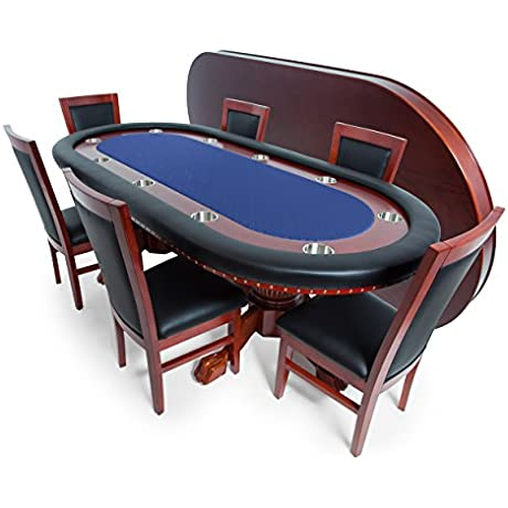 BBO Poker Rockwell Poker Table For 10 Players With Speed Cloth Playing Surface 93x45 Inch Oval Includes Matching Dining Top With 6 Dining Chairs