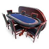 BBO Poker Rockwell Poker Table for 10 Players with Blue Speed Cloth Playing Surface, 94 x 44-Inch Oval, Includes Matching Dining Top with 6 Dining Chairs
