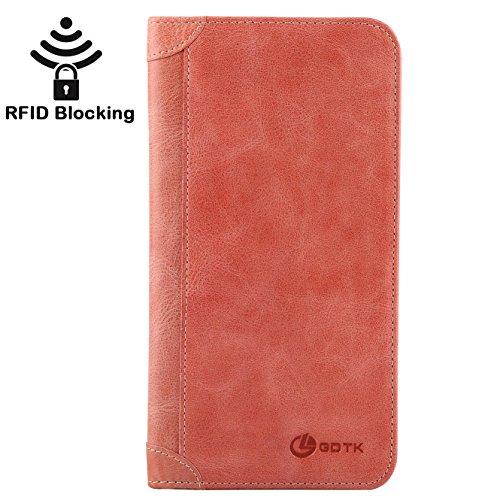 Italian Leather Checkbook Wallet (Women's Wallet - Genuine Italian Leather Long Bifold RFID Blocking Wallet (Watermelon Red))