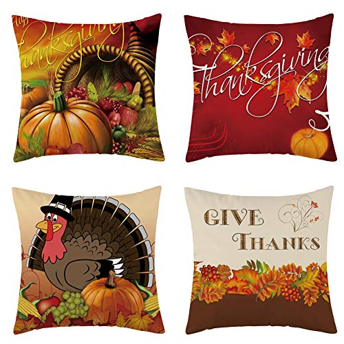 WFLOSUNVE Set of 4 Thanksgiving Turkey Fall Throw Pillow Cover, Soft Flannel Autumn Pumpkin Decorative Pillow Case Cushion Cover for Couch and Sofa 18x18 Inch