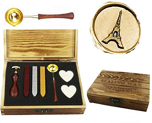 - MNYR Retro The Eiffel Tower Sealing Wax Seal Stamp Kit Melting Spoon Wax Stick Candle Wooden Book Gift Box Set Wedding Invitation Embellishment Holiday Card Gift Wrap Package Gift Idea Seal Stamp Set